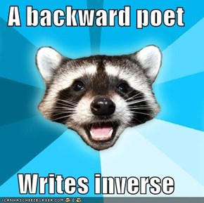 A backward poet  Writes inverse