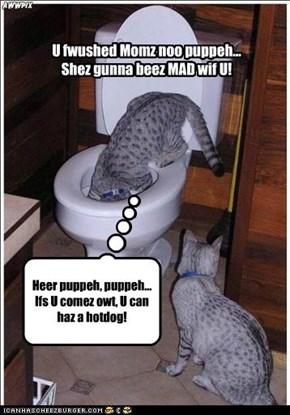 U fwushed Momz noo puppeh... Shez gunna beez MAD wif U!