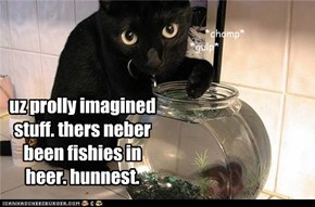 uz prolly imagined stuff. thers neber been fishies in  heer. hunnest.