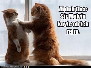 Ai dub thee Sir Melvin knyte ob teh relm.