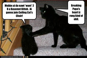 Mebbe ai do nawt *want* 2 B a Basemnt Kitteh.  Ai gonna join Ceiling Cat's Choir!