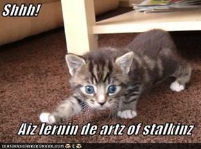 Shhh!  Aiz lernin de artz of stalkinz