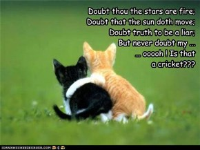 Doubt thou the stars are fire; Doubt that the sun doth move; Doubt truth to be a liar; But never doubt my ... ... ooooh ! Is that  a cricket???
