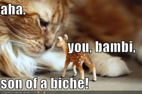 aha. you, bambi, son of a biche!