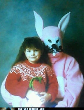 Typical shopping mall Easter Bunny! In your worst nightmares!