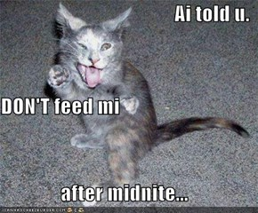 Ai told u. DON'T feed mi after midnite...