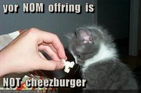 yor  NOM  offring  is   NOT  cheezburger