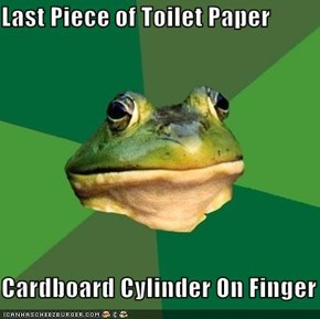Last Piece of Toilet Paper  Cardboard Cylinder On Finger