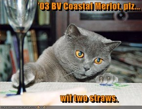 '03 BV Coastal Merlot, plz...                         wif two straws.