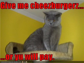 Give me cheezburgerz...  ...or yu will pay.