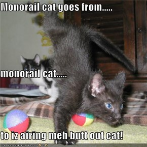 Monorail cat goes from..... monorail cat..... to iz airing meh butt out cat!