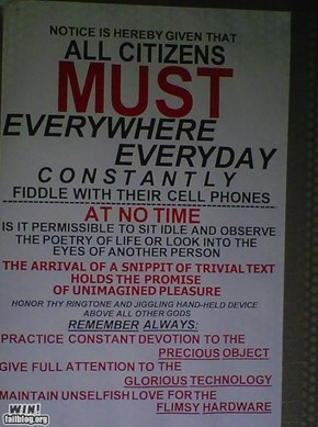 Cell Phone Notice WIN