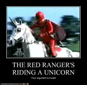 THE RED RANGER'S RIDING A UNICORN