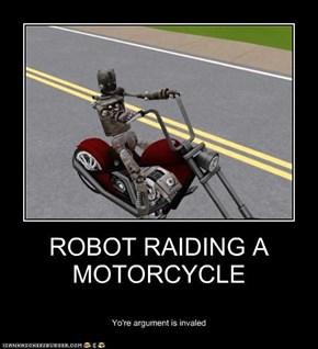 ROBOT RAIDING A MOTORCYCLE