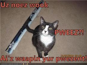 Uz noez wook PWEEZ?! Ai'z waapin yur pwezent!