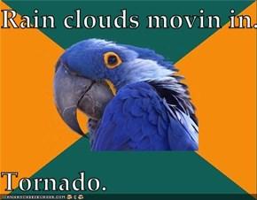 Rain clouds movin in.  Tornado.