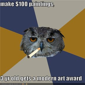 make $100 paintings,  3 yr old gets a modern art award