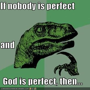 If nobody is perfect and God is perfect, then...
