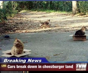 Breaking News - Cars break down in cheezburger land