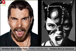 Christian Bale's Angry Face Totally Looks Like Christina Ricci as Catwoman