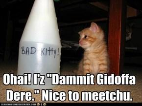 "Ohai! I'z ""Dammit Gidoffa Dere."" Nice to meetchu."