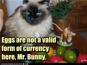 Eggs are not a valid form of currency here, Mr. Bunny.