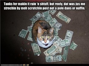 Tanks fer makin it rain 'n shtuff, but reely, dat was jus me  strechin by meh scratchin post not a pole dans or nuffin.