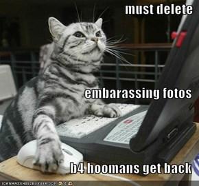must delete  embarassing fotos b4 hoomans get back