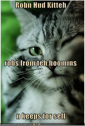 Robn Hud Kitteh  robs from teh hoomins n keeps for self