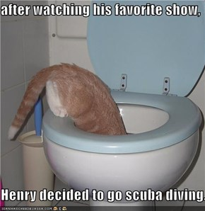 after watching his favorite show,  Henry decided to go scuba diving.