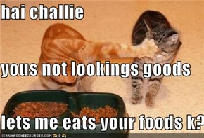 hai challie  yous not lookings goods lets me eats your foods k?
