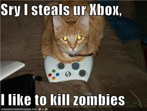 Sry I steals ur Xbox,  I like to kill zombies