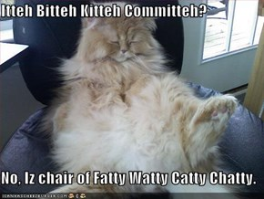 Itteh Bitteh Kitteh Committeh?  No, Iz chair of Fatty Watty Catty Chatty.