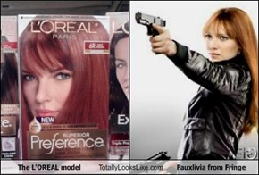 The L'OREAL model  Totally Looks Like Fauxlivia from Fringe