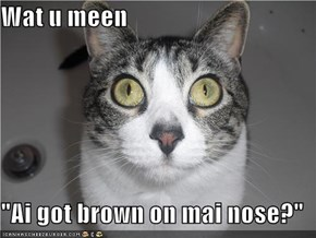 "Wat u meen  ""Ai got brown on mai nose?"""