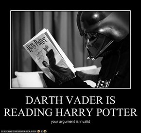 DARTH VADER IS READING HARRY POTTER