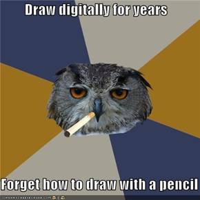 Art Student Owl: Like Drawing a Bike