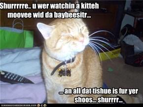 Shurrrrre.. u wer watchin a kitteh moovee wid da baybeesitr...