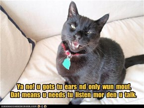 Ya  no!  u  gots  tu  ears  nd  only  wun  mouf, Dat  means  u  needs  tu  listen  mor  den  u  talk.