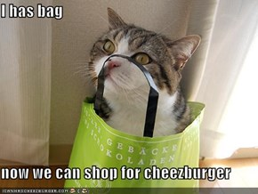 I has bag  now we can shop for cheezburger