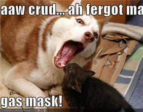 aaw crud... ah fergot ma  gas mask!