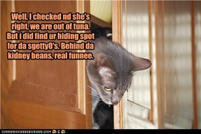 Well, I checked nd she's right, we are out of tuna. But i did find ur hiding spot for da sgettyO's. Behind da kidney beans, real funnee.