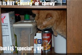 "I is NOT ""chunky"" or ""chewy""  but I IS ""special""...'k?!"
