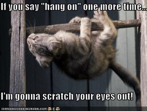 "If you say ""hang on"" one more time...  I'm gonna scratch your eyes out!"