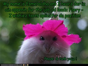 My name is Esmeraldha ans I hearz der iz ain oppenin fur the job od leadz Faery -  I wishiez toots apliezfur da pozition
