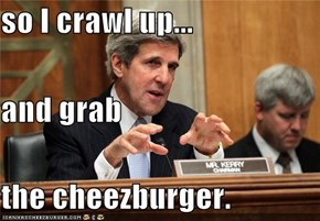 so I crawl up... and grab the cheezburger.