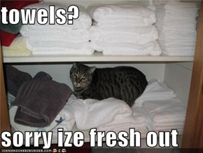 towels?  sorry ize fresh out