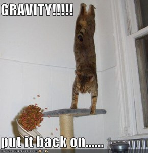 GRAVITY!!!!!  put it back on......
