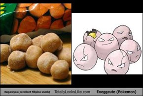 Nagarayas (excellent Filipino snack) Totally Looks Like Exeggcute (Pokemon)