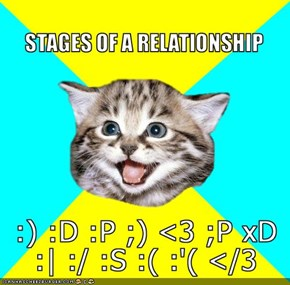 "MemeCats: Happy Kitten's ""Stages of a Relationship"""